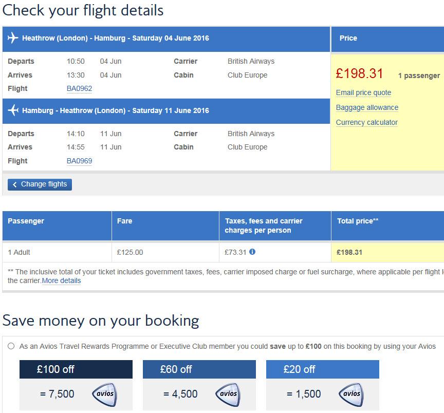BA Sales with Avios off