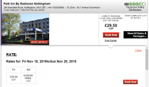 Park Inn Nottingham huge saving