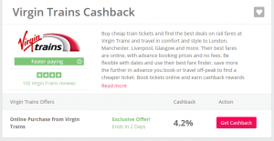 virgin trains boosted cashback