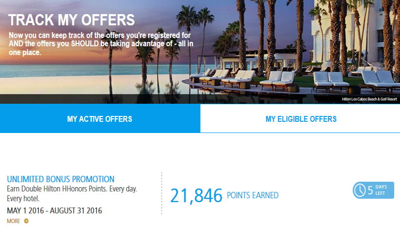 my hilton promotions page