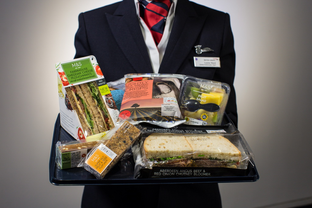 airways british food ba board marks spencer haul short economy drink menu meals water catering seat prices fly stop spencers