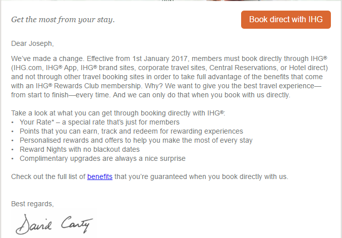 A Puzzling Email From IHG Rewards Club     - InsideFlyer UK