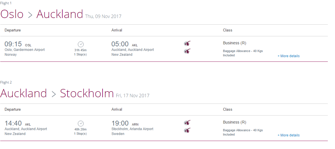 Business Class to New Zealand £1,440 + Earn 5x Miles! (Qatar