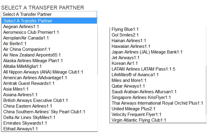spg airline transfer partners