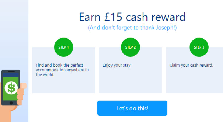 Get a £15 Booking com Credit - and Share Your Own Referral Link Too