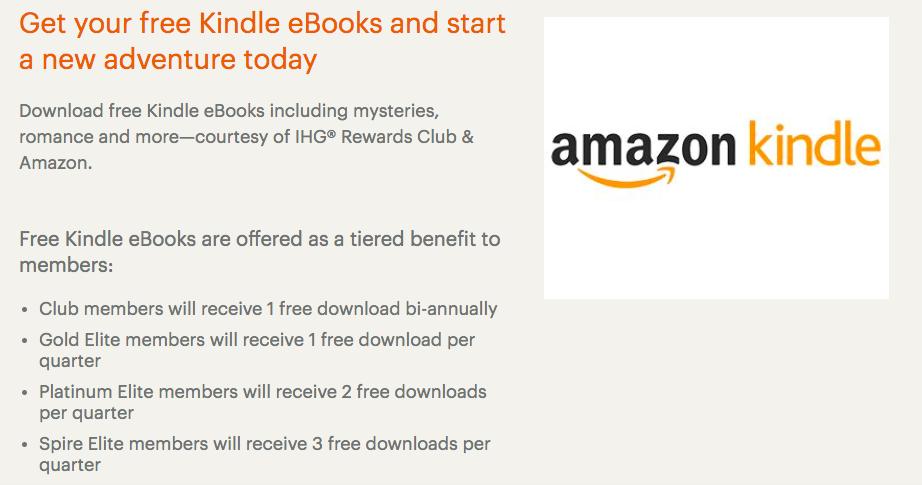 Another new IHG Rewards Club benefit - free Kindle ebooks