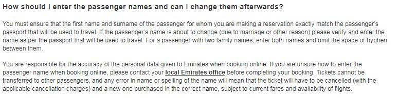 emirates name change policy