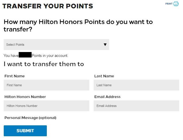 free hilton honors points