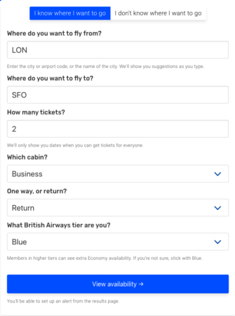 Finding Avios Availability